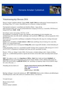 Invitation Vintertræningslejr 2016